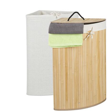 Eckwäschekorb Bambus, faltbarer Wäschesammler mit Deckel, 60 Liter, 2 Wäschesäcke, 66 x 49,5 x 37 cm, natur
