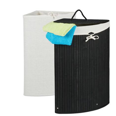 Eckwäschekorb Bambus, faltbarer Wäschesammler mit Deckel, 60 Liter, 2 Wäschesäcke, 66 x 49,5 x 37 cm, schwarz