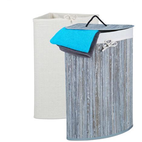 Eckwäschekorb Bambus, faltbarer Wäschesammler mit Deckel, 60 Liter, 2 Wäschesäcke, HBT 66 x 49,5 x 37 cm, grau