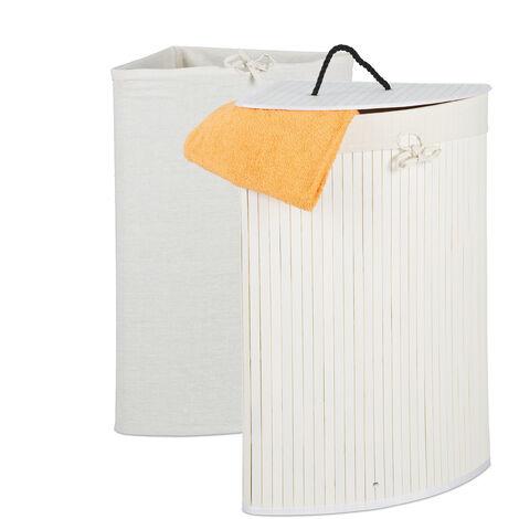 Eckwäschekorb Bambus, faltbarer Wäschesammler mit Deckel, 60 Liter, 2 Wäschesäcke, HBT 66 x 49,5 x 37 cm, weiß
