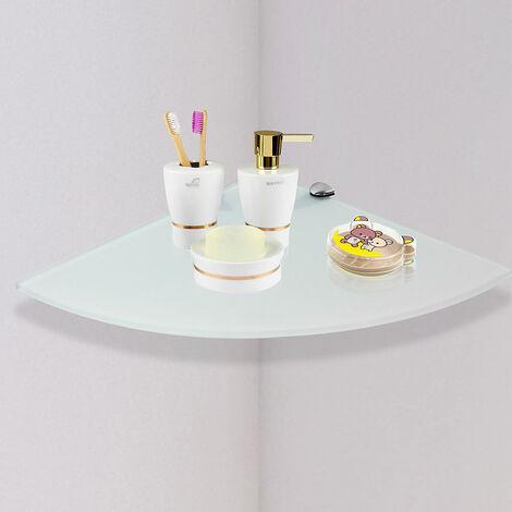 Eckwandregal Milchglas 35x35CM + Halterung Glasboden Ablage Konsole Glasablage