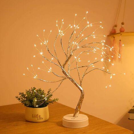 Éclairage d'arbre à LED en cuivre, USB, 108 LED, 50 cm, éclairage mignon en bouleau, fonctionne sur piles, pour Noël, Pâques, décoration intérieure, application (éclairage d'arbre USB en cuivre 50 cm, 108 LED)