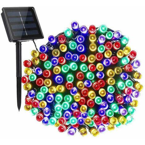 éclairage de bande étanche à l'énergie solaire 50M 500 LED Guirlande lumineuse avec panneau solaire + Piquet de sol Paysage Jardin extérieur Décor Party Home (multicolore, 50M 500LED)