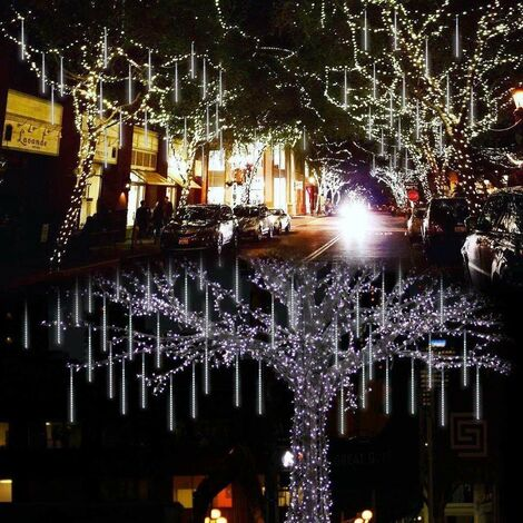 Éclairage de douche Étanche avec 8 tubes, Guirlande Lumineuse Extérieure pour extérieur de Noël, Blan