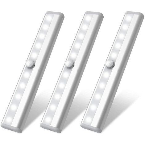 Éclairage de garde-robe à détecteur de mouvement LED, lampes de garde-robe rechargeables USB, à coller partout sans fil 10 lampes de garde-robe LED avec bandes magnétiques pour escaliers de cuisine de garde-robe, 3 pièces, blanc