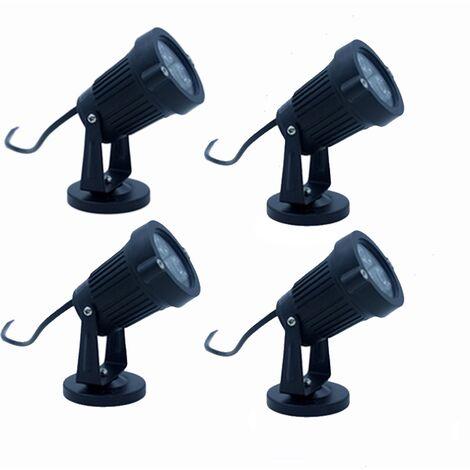 Éclairage extérieur 4PCS avec base 3W 220V IP65 projecteur réglable étanche projecteur led jardin lumière voie plante balcon terrasse vin hôtel pelouse lumière LED blanc froid [énergie de niveau A]