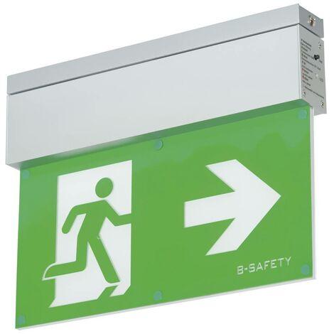 Eclairage LED dissue de secours B-SAFETY L-LUX STANDARD BR559080 montage apparent au plafond Sortie, issue de secours,