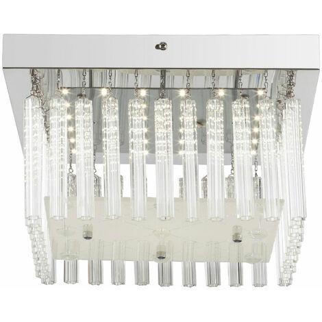 Éclairage plafonnier DEL 18 W luminaire plafond lampe chrome motif clair verre