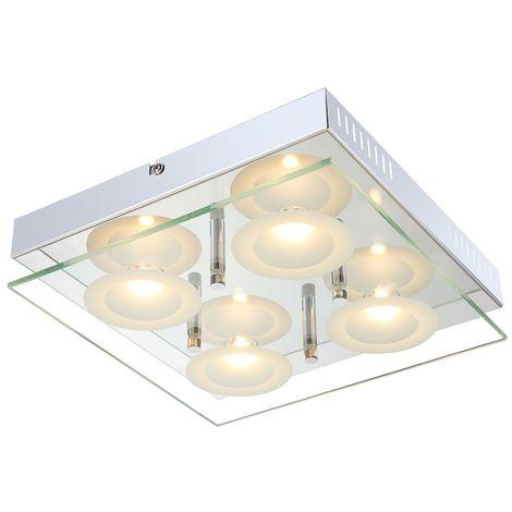 Éclairage plafonnier DEL 20 watts luminaire plafond chrome verre lampe couloir