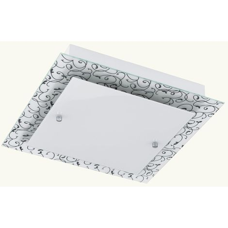 Éclairage plafonnier DEL 24 watts luminaire plafond lampe acier verre satiné motif blanc noir