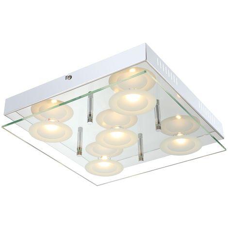 Éclairage plafonnier DEL 25 watts luminaire plafond lampe chrome verre LED