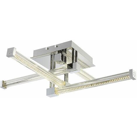 Éclairage plafonnier DEL 25,6 watts luminaire plafond lampe verre baguettes LED