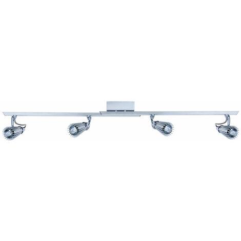 Éclairage plafonnier en aluminium, acier et chrome avec les quatres spots réglables