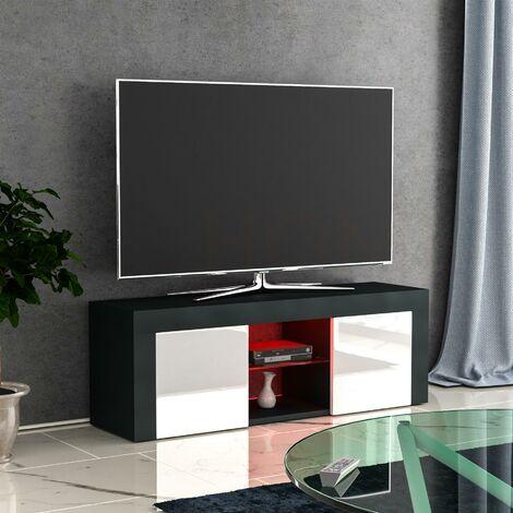 Eclipse 2 Door LED TV Unit, Black & White