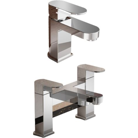 Eclipse Modern Cloakroom Basin Mono and Bath Filler Mixer Tap Set