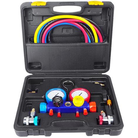 ECO 4 Way AC Manifold Gauge Set R410 R134 R22 R407C w/Hoses Coupler Adapters