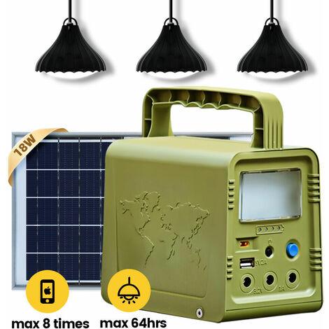 ECO 84 W · h Solarpanel-Stromgenerator-Kit Tragbares Kraftwerk mit 3 LED-Lampen
