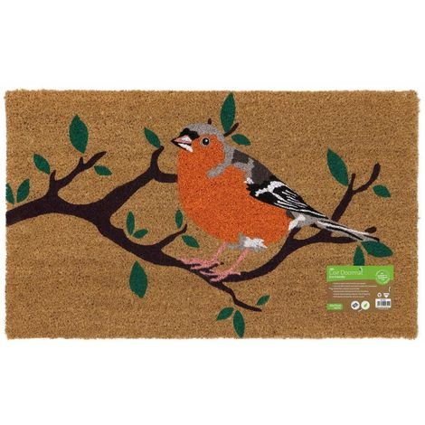 Eco-Friendly Animal Latex Backed Coir Entrance Door Mat, Bird Design