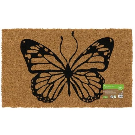 Eco-Friendly Animal Latex Backed Coir Entrance Door Mat, Butterfly Design