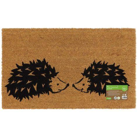 Eco-Friendly Animal Latex Backed Coir Entrance Door Mat, Hedgehog Design