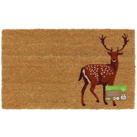 Eco-Friendly Animal Latex Backed Coir Entrance Door Mat, Stag Design