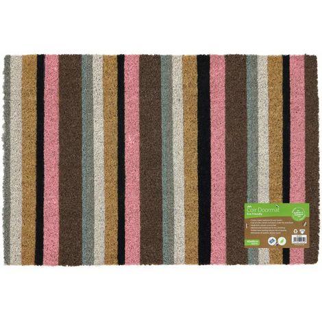 Eco-Friendly Colour Pattern Latex Backed Coir Entrance Door Mat, Pink Stripe Design