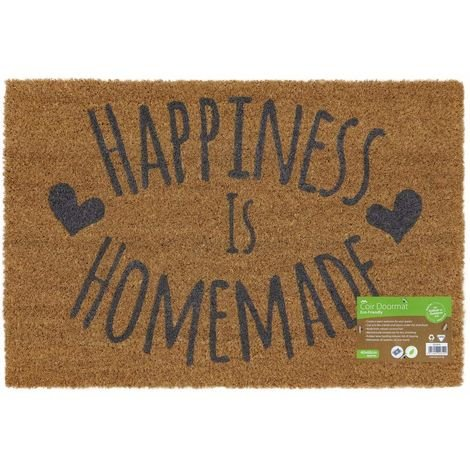 Eco-Friendly Expression Latex Backed Coir Entrance Door Mat , Happiness Design