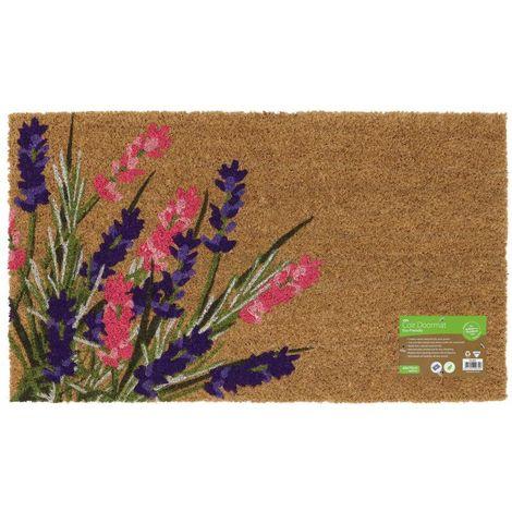 Eco-Friendly Garden Latex Backed Coir Entrance Door Mat, Lavender Design