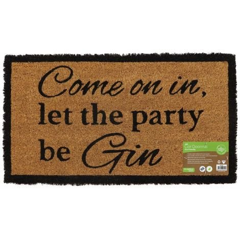 Eco-Friendly Novelty Latex Backed Coir Entrance Door Mat, Gin Design
