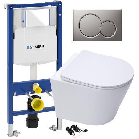 ECO Hidden Fixings Toilet Rimless Pan, Seat GEBERIT Concealed Cistern Frame WC Unit - Matt Chrome Flush Plate