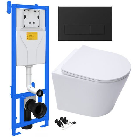 ECO Hidden Fixings Wall Hung Toilet Rimless Pan & Seat, Concealed Cistern Support Frame WC Unit