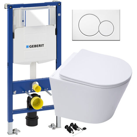 ECO Hidden Fixings Wall Hung Toilet Rimless Pan, Seat GEBERIT Concealed Cistern Frame WC Unit - White Flush Plate