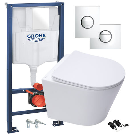 ECO Hidden Fixings Wall Hung Toilet Rimless Pan, Seat GROHE Concealed Cistern Frame WC Unit