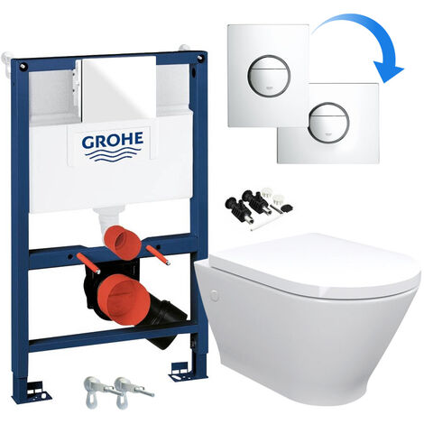 ECO Hidden Fixings Wall Hung Toilet Rimless Pan & Seat, GROHE RAPID NOVA 0.82m SL 3 in 1 WC FRAME - Includes Shiny Chrome Flush Plate