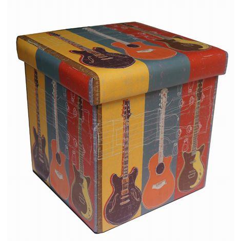 Eco- leather made folding pouf guitars
