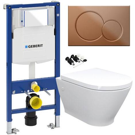 ECO Rimless Toilet Pan, Seat & GEBERIT Concealed Cistern Frame WC Unit - Gloss Brass Flush Plate