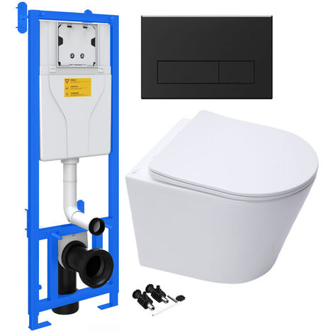 ECO Rimless Wall Hung Toilet Pan, Seat & Concealed Cistern Support Frame WC Unit
