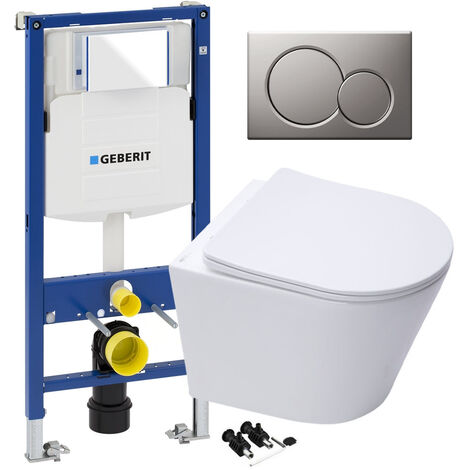 ECO Rimless Wall Hung Toilet Pan, Seat & GEBERIT Concealed Cistern Frame WC Unit - Matt Chrome Flush Plate