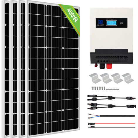 ECO-WORTHY 400W Solar Panel Kit Pure Sine Wave Solar Charge Inverter Kit For Shed Cabin Home