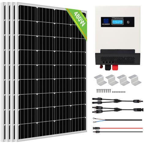 ECO-WORTHY 480W Solar Panel Kit Pure Sine Wave Solar Charge Inverter Kit For Shed Cabin Home
