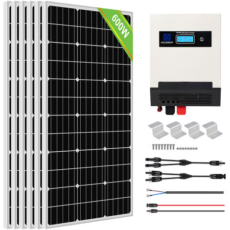 ECO-WORTHY 600W Solar Panel Kit Pure Sine Wave Solar Charge Inverter Kit For Shed Cabin Home