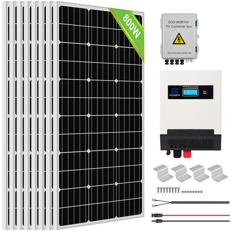ECO-WORTHY 800W Solar Panel Kit Pure Sine Wave Solar Charge Inverter Kit For Shed Cabin Home
