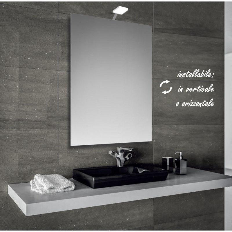 Ecoled - specchio reversibile da bagno filo lucido 50x70 cm con lampada led 4w