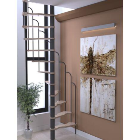 Économie de l'espace Escalier en colimaçon en hêtre coup broche et métal gris clair