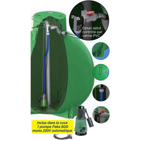 Ecoregul cuve de regulation d'eau de pluie avec pompe, sortie haute - 3000 L