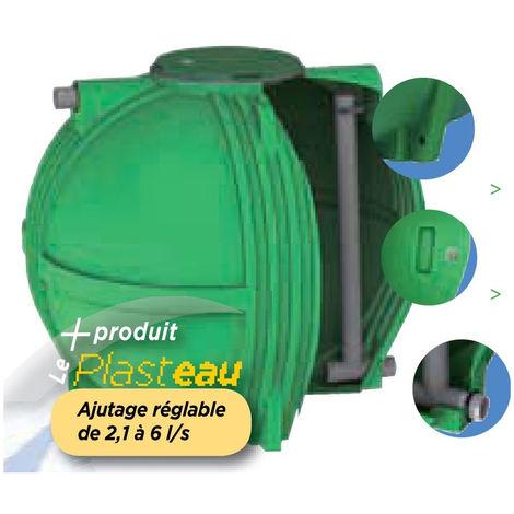 Ecoregul cuve de régulation d'eau de pluie sortie basse à ajutage reglable - Plate 3000 L