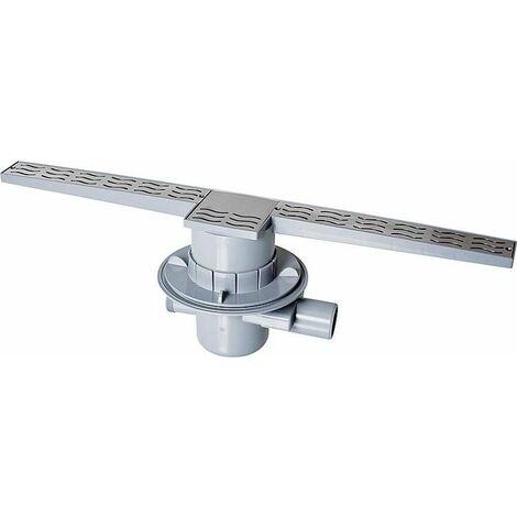Ecoulement pour douche en ABS avec grille en acier inox linéaire, rigole d´écoulement 700mm avec film d´étanch...