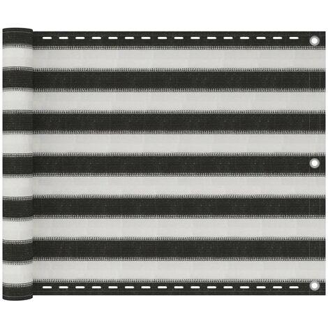 Écran de balcon en PEHD 75 x 600 cm Anthracite et blanc