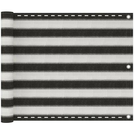 Écran de balcon en PEHD 75x400 cm Anthracite et blanc