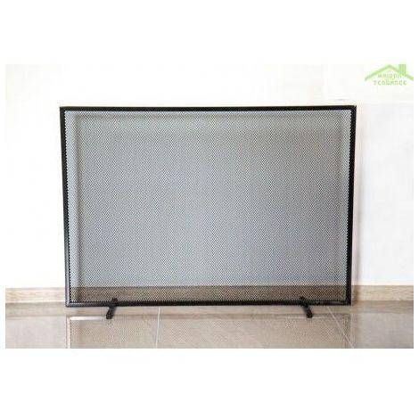 Ecran de cheminée rectangulaire en acier noir CORNEL100x72x15 cm